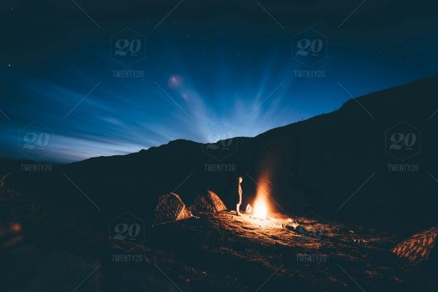 Stock Photo Outdoors Silhouette Night Camping Long Exposure