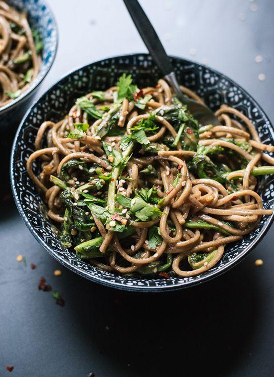 Broccoli rabe peanut soba noodles - cookieandkate.com