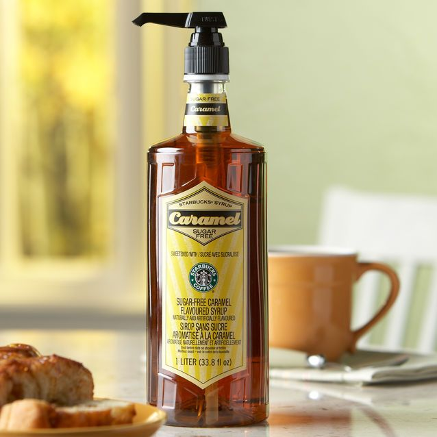 A 1-liter bottle of deliciously sweet – and sugar free –  caramel syrup to flavor to your coffee or macchiato at home or the office.