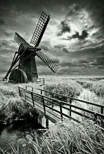 Black and white landscape herringfleet windmill b norfolk england