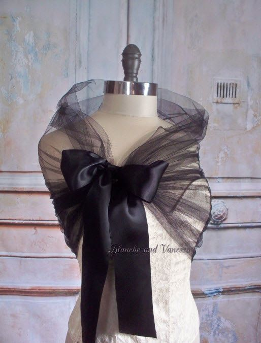 Black Tulle Wedding Shawl Bridal Tulle Shrug by LucilleandIrma
