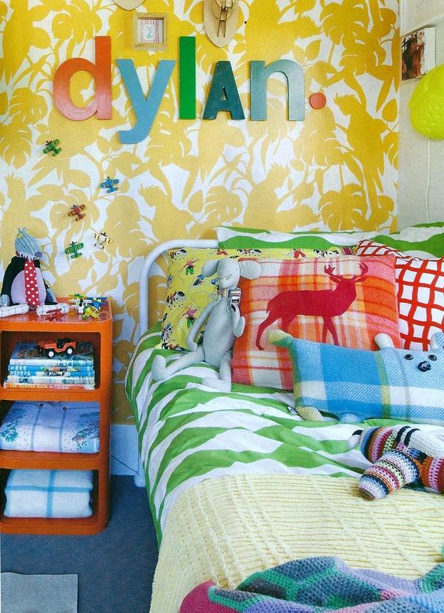Bright, bold, boys room. Wallpaper is Florence Broadhurst 'Cockatoos'.