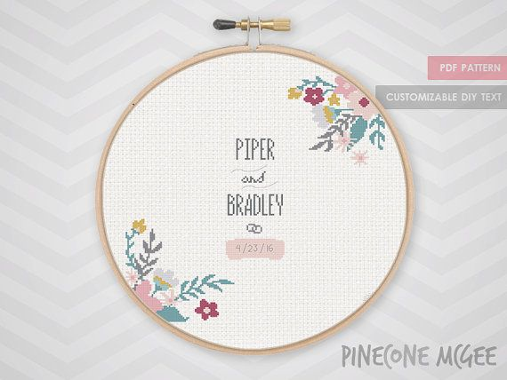 FLORAL WEDDING RECORD counted cross stitch by PineconeMcGee