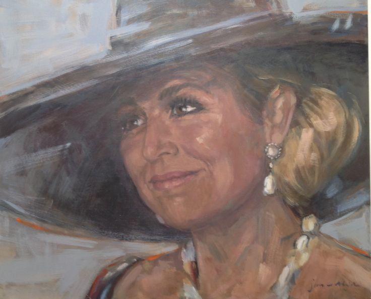 Schilderij Maxima met hoed door Jan en Alide Bouwsema