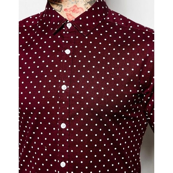 ASOS Skinny Shirt with Polka Dot in Burgundy with Long Sleeves (27.420 CLP) ❤ liked on Polyvore featuring men's fashion, men's clothing, men's shirts, men's casual shirts, men, mens tall shirts, mens polka dot shirt, asos mens shirts, mens long sleeve shirts and mens stretch shirt