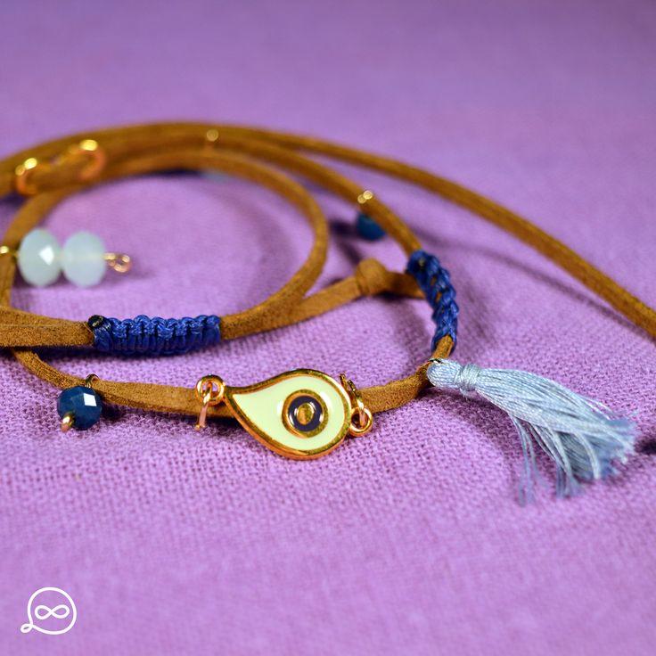 Gold Plated Drop-Shaped Eye Bracelet. #tufatufa
