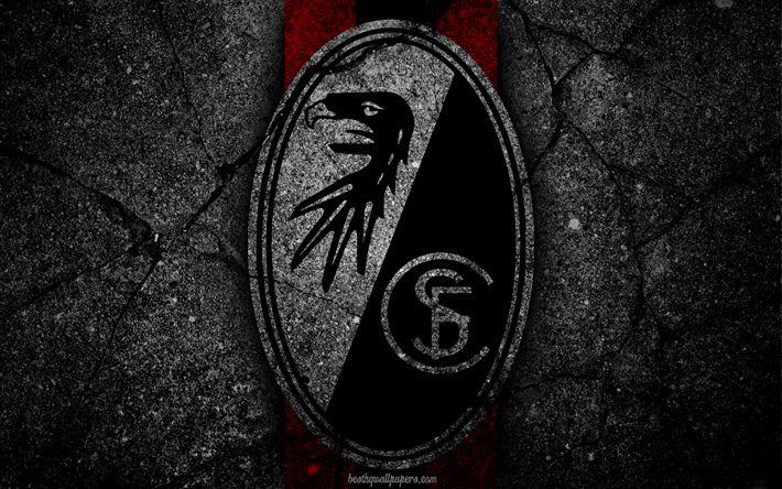 تحميل خلفيات فرايبورغ, شعار, الفن, الدوري الالماني, كرة القدم, نادي كرة القدم, SC Freiburg, الأسفلت الملمس