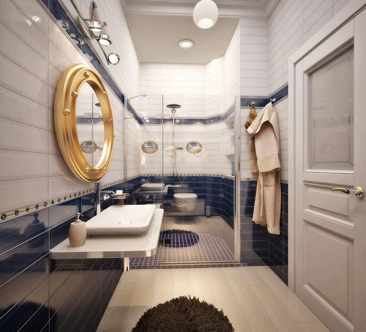 Одним из важных атрибутов ванной комнаты является #зеркало, так как для большинства утренних и вечерних процедур в этой комнате, оно просто необходимо. А зеркало в виде иллюминатора смотрится ну очень оригинально. #Сантехника_Тут http://santehnika-tut.ru/ #дизайн #интерьер #стиль #ванная #сантехника #плитка