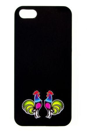 Folk etui na iPhone 5 czarne FOLK BIRDS - tradycyjna wycinanka łowicka - koguciki