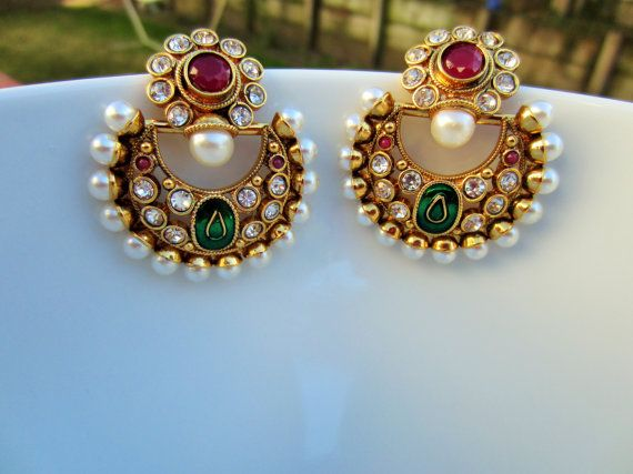 Chand Bali Meenakari Pearl Earrings Indian Jewelry by Alankaar, $30.00