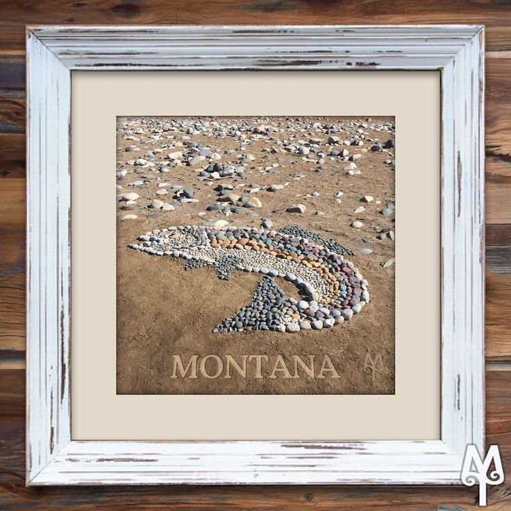 A Montana Treasures Rock Trout poster with a barn wood frame...Shop for this unique wall art on montana-treasures.com today!