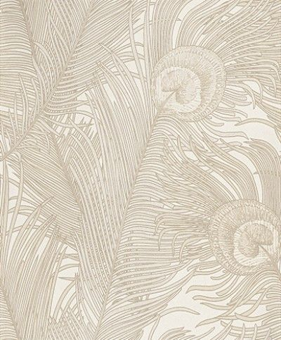 Peacock Cream (EM17061) - Galerie Wallpapers - A grand wallpaper design featuring an elegant motif of a large scale peacock feature. Shown here in cream with metallic detailing. Other colourways are available. Please request a sample for a true colour match. Paste-the-wall product.
