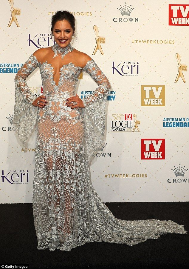Red carpet glamour: Olympia dazzled in a plunging J'Aton Couture at the 2016 TV Week Logie Awards held at Melbourne's Crown Palladium earlier this month