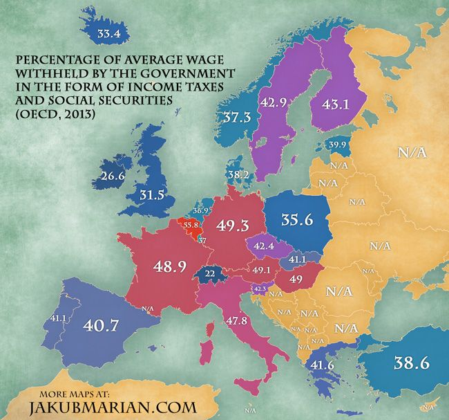 European government taxes by country -- Belgium has the highest rates and Switzerland has the lowest.