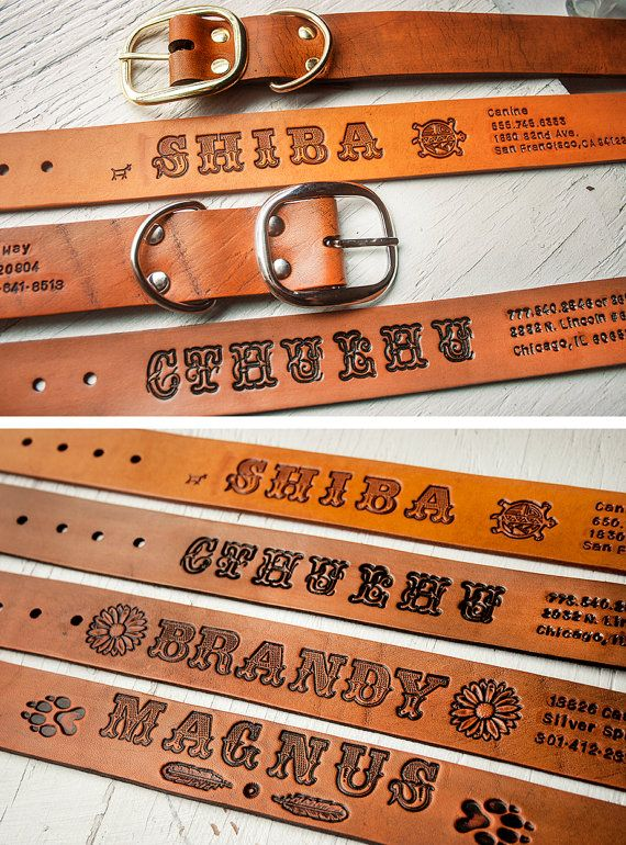 Custom Leather Dog Collar -  XL tooled personalized band - 1.5 inches wide - custom length, made to your measurements. $50.00, via Etsy.