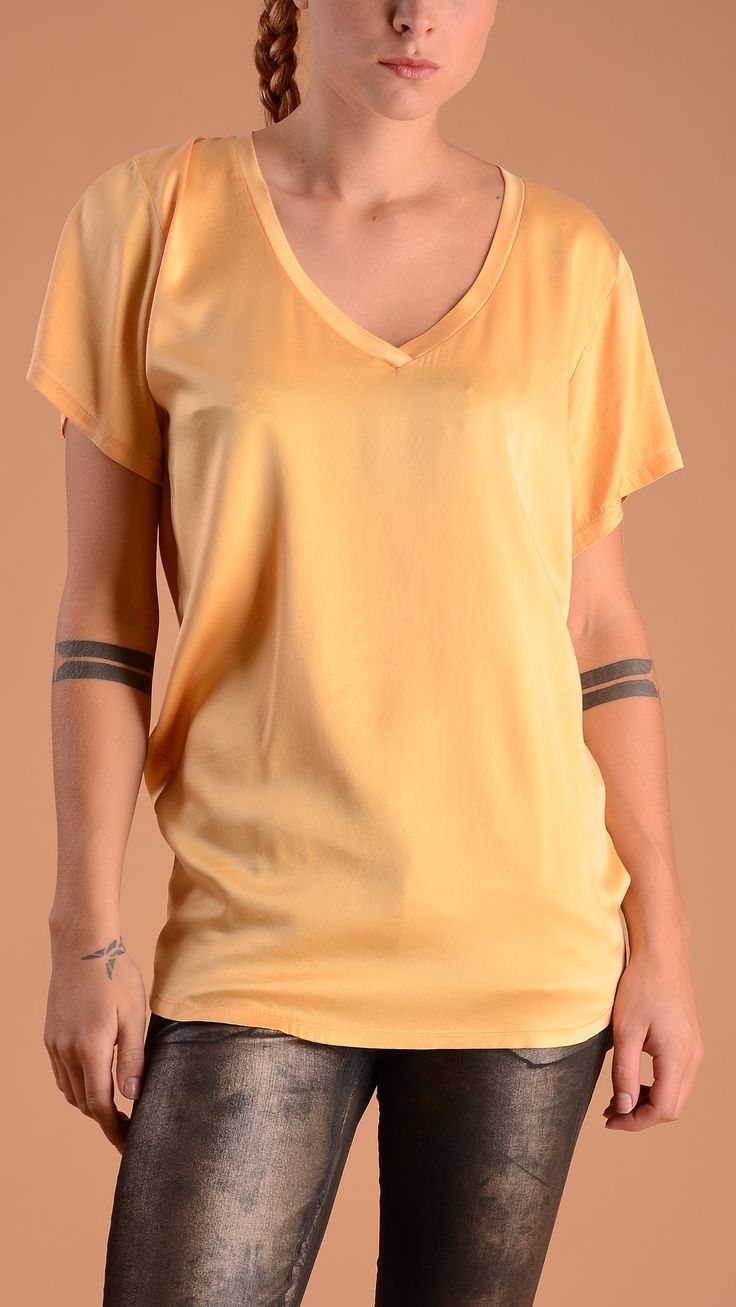 Cycle Yellow butterfly sleeve T-shirt, V neck. 94% silk, 6% lyocell.