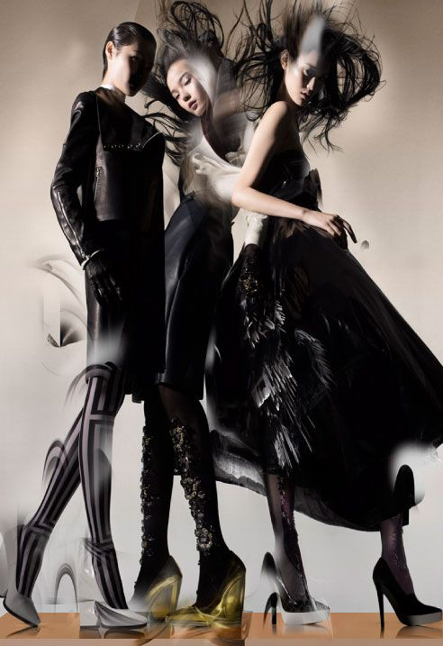 Ming Xi, Xiao Wen & Wang Xiao Are Swept Away for Lane Crawfords Fall 2012 Campaign by Nick Knight  #fashion #photography #editorial