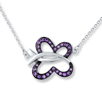 Butterfly Necklace Natural Amethyst Sterling Silver