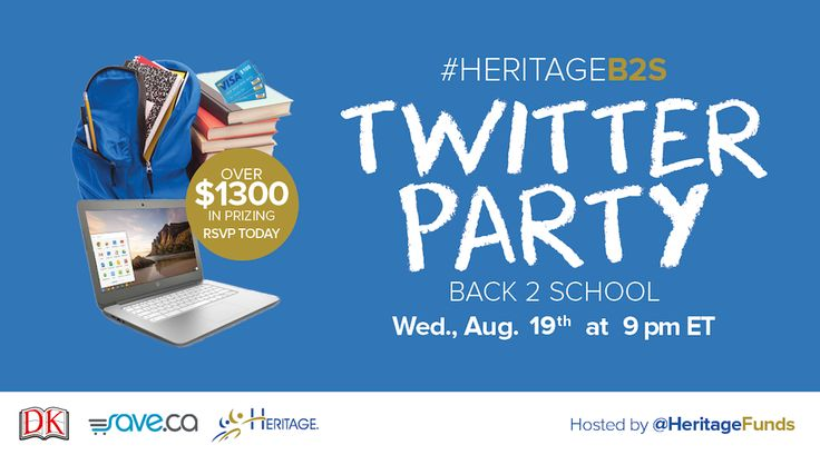 Canadians! #HeritageB2S Twitter Party 9-10pm this Wednesday (Aug. 19th). Over $1300 in prizes, including 2 HP Chromebooks, 3 x $100 Visa prepaid gift cards and 2 x $100+ book prize packs. RVSP here: http://blog.heritageresp.com/back-2-school