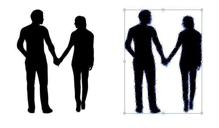 男性と女性が手を繋いだシルエットイラスト シルエット イラスト