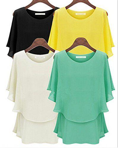 Amoin Women's Long-sleeve Print Chiffon Fashion Slim Blouses