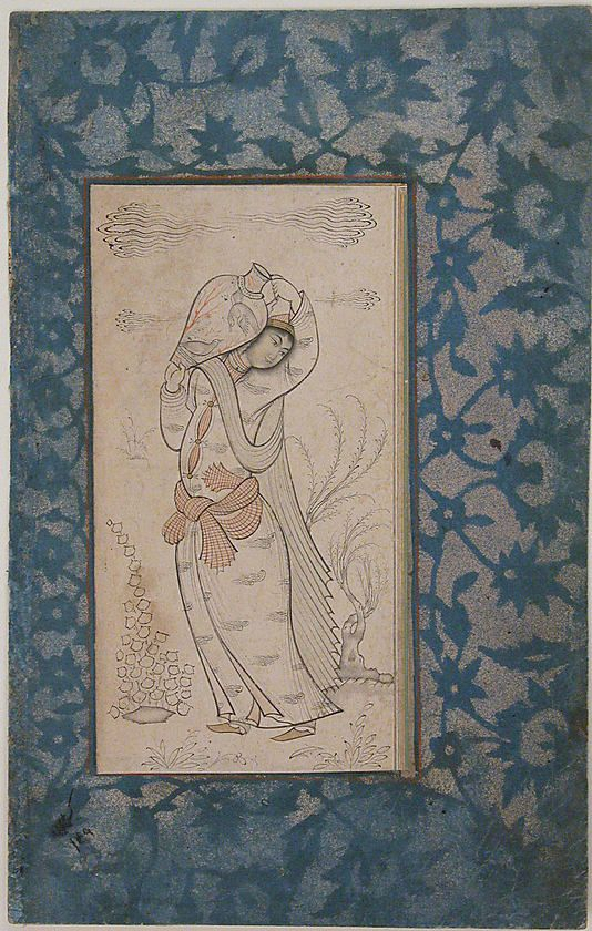 Woman Carrying a Vase Date: 17th century Geography: Iran Medium: Ink, watercolor, and gold on paper Dimensions: H. 6 1/8 in. (15.5 cm) W. 3 3/16 in. (8.1 cm) Metropolitan Museum of Art 45.174.18