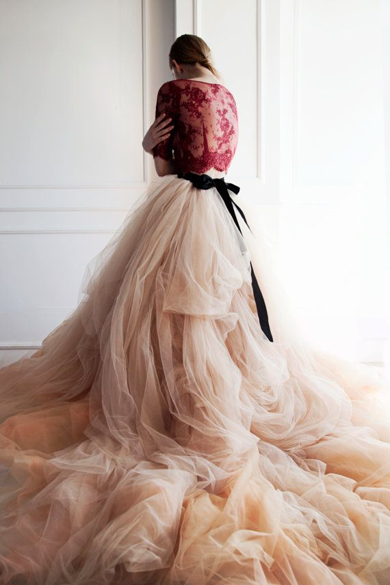 Falda de Novia de tul Nude / / peonía por CarouselFashion en Etsy