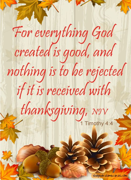 """1 Timothy 4:4 - """"For everything God created is good, and nothing is to be rejected if it is received with thanksgiving."""""""