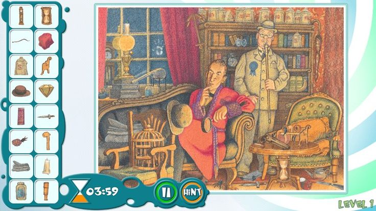 Sherlock Holmes: The Blue Diamond // Sherlock Holmes: The Blue Diamond is a wonderfully illustrated hidden object puzzle game based on the book by Sir Arthur Conan Doyle. The game takes you through the detective mystery with high-quality AUDIO NARRATION!  Sherlock Holmes needs to uncover the mystery of how a blue diamond ended up in the throat of a goose of all places. Follow along Holmes on his wild goose chase!