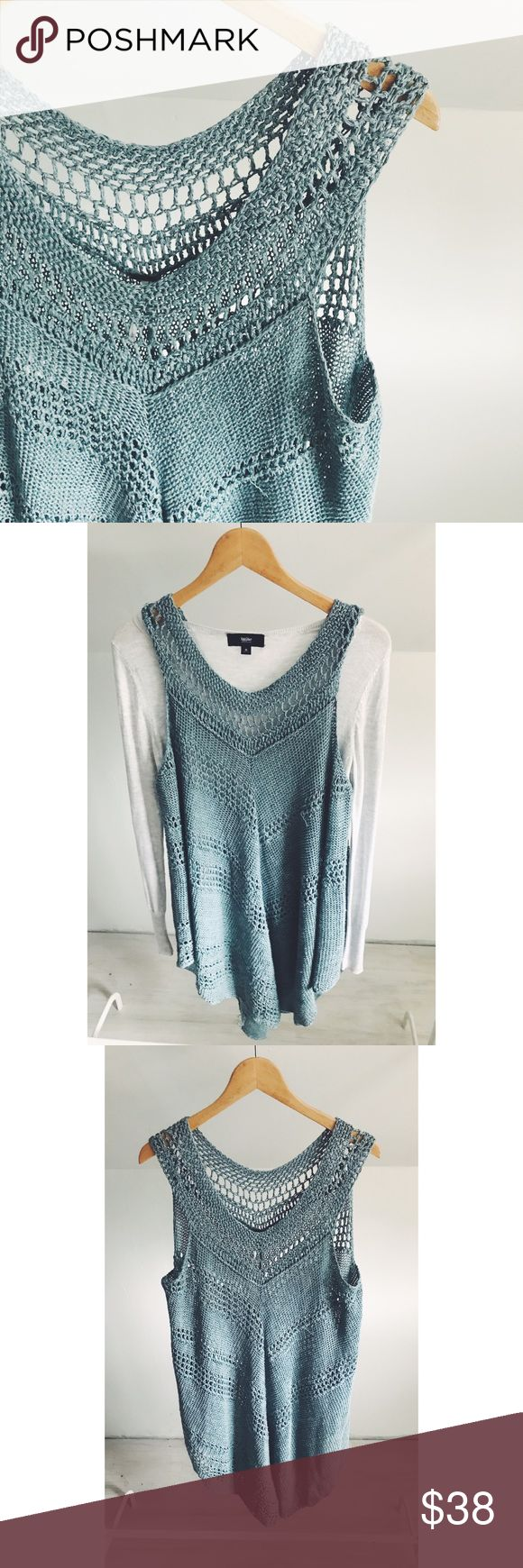 Free People Crochet Open Knit Tunic Sweater Gorgeous color, drape and swingy hemline! Open weave of a crochet type pattern-perfect for layering over a sweater, chambray or tee! Length is Tunic style, so will pair easily with jeans or leggings. Gently used. Great condition. Linen, cotton and rayon blend. Free People Tops Tunics