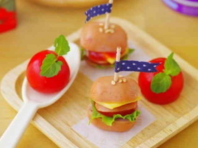 まん丸ソーセージのハンバーガーキャラ弁の画像
