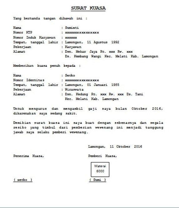 contoh surat kuasa pengambilan gaji | Surat, Surat kuasa ...