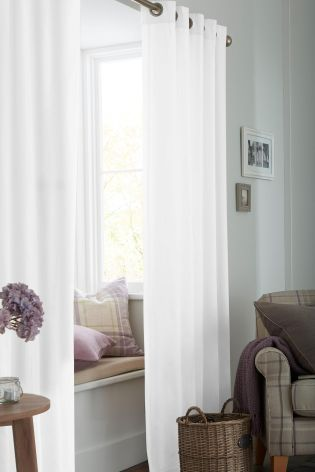 White Cotton Eyelet Lined Curtains Studio Collection By Next