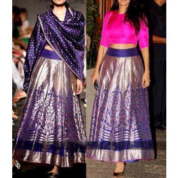 Banarasi Silk Machine Work Blue Semi Stitched Bollywood Designer Lehenga - RK444