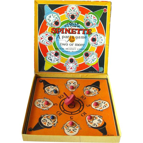 Jolly CLown Spinette A Party Game for Two or More was made by Milton Bradley Company of Springfield, Massachusetts. This game is copyrighted 1932 and