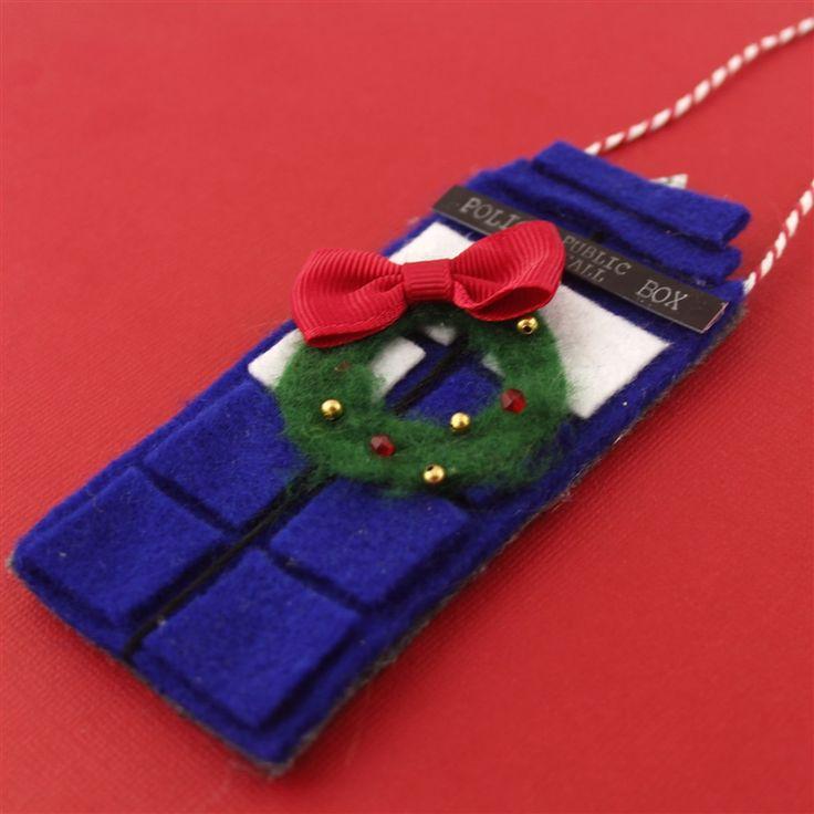 Doctor Who Handmade Felt TARDIS Christmas Ornament - Spiffing Jewelry