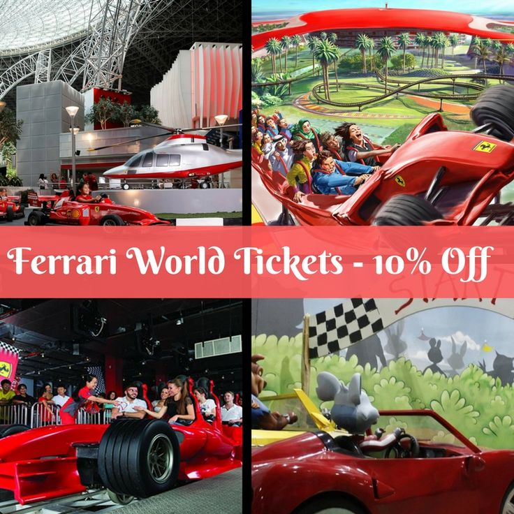 Ferrari World Theme Park Tickets Only @ AED 250. Grab 10% Off On Ticket. No Code Required. Call at +971 42087444 to get more details. #Ferrari_World_Abu_Dhabi_Tickets #Ferrari_World_Abu_Dhabi_Discount_Tickets #Abu_Dhabi_Ferrari_World #Tour_Abu_Dhabi  Tour Inclusions:   Ticket of admission to the theme park All rides that are inclusive in the ticket, including a ride of the Formula Rossa You can book the Gold tickets if you do not want to wait in queue for the rides