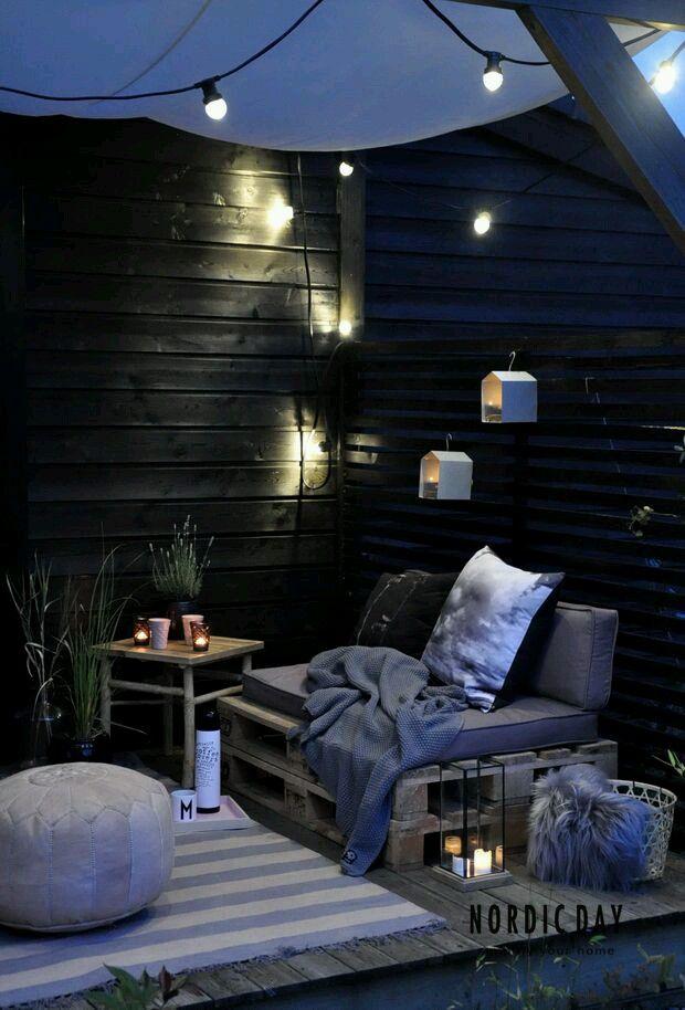 Lichtsnoer voor buiten, lantaarn en kaarsjes; ook 's avonds gezellig in de tuin relaxen [Nordic Day].