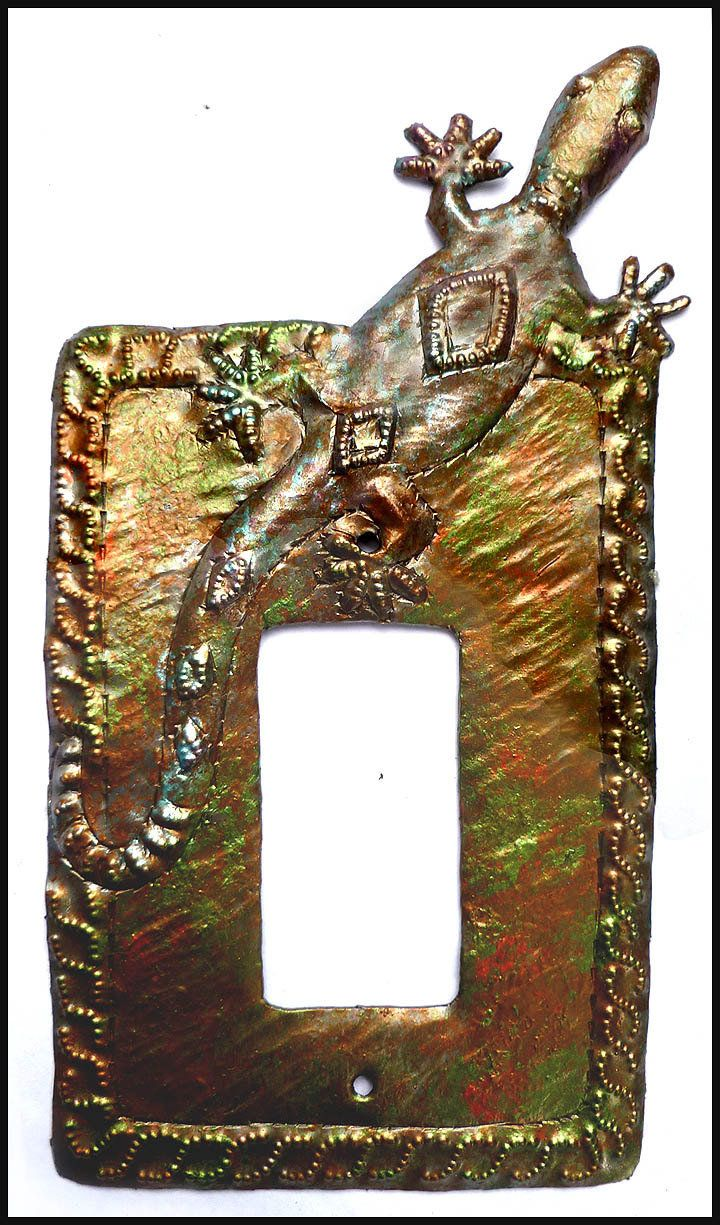 Rocker Switch Plate Covers Gecko Iridescent Metal