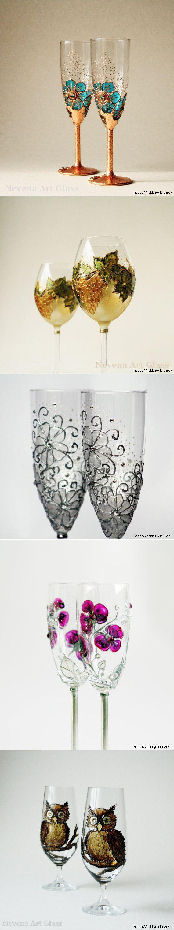 декор бокалов от NevenaArtGlass (Болгария).   Роспись по стеклу   Постила