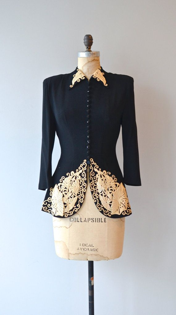 1940s lace & rayon fitted jacket • www.deargolden.com