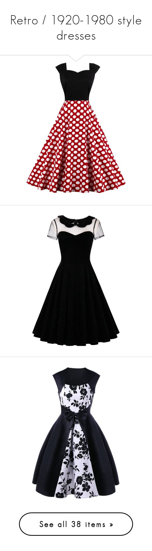 """Retro / 1920-1980 style dresses"" by kodanyx ❤ liked on Polyvore featuring dresses, red polka dot dress, polka dot print dress, dot dresses, sleeveless dress, high waist dress, lace panel dress, short sleeve dress, velvet dress and lace inset dress"