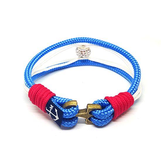Bran Marion Blue and Bronze Anchor Mens Nautical Bracelet