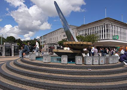 60s-tastic sundial in the centre of Plymouth