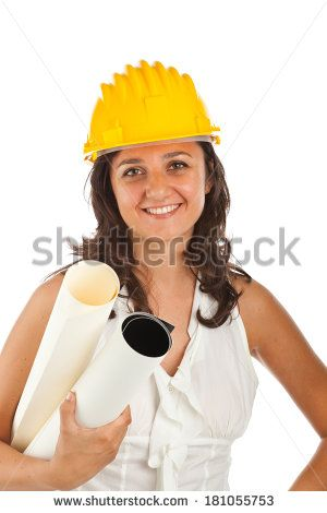 Engineer woman with drawing, isolated on white background.