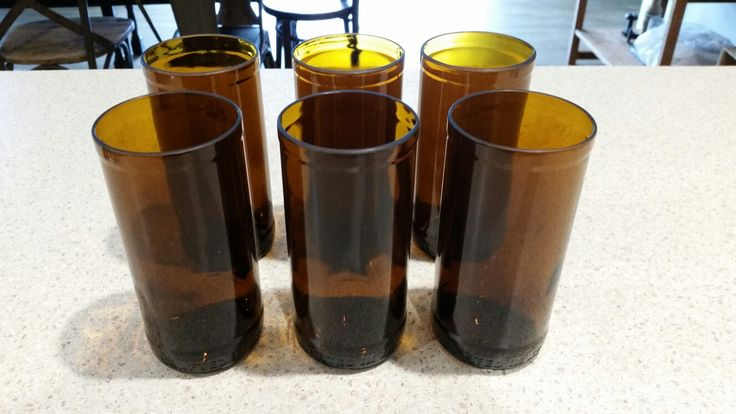 Beer glasses made from cider bottles