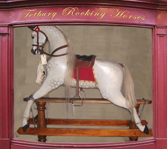"PEGASUS 51"" large antique rocking horse made by Lines brothers."