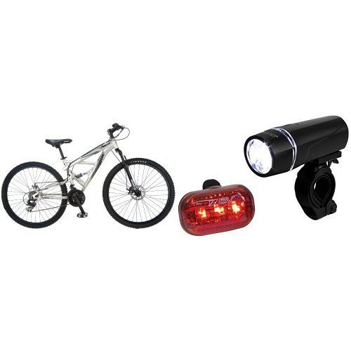 Mongoose Impasse Dual Full Suspension Bicycle 29Inch and BV Bicycle Light Set Super Bright 5 LED Headlight 3 LED Taillight QuickRelease Bundle *** To view further for this item, visit the image link.
