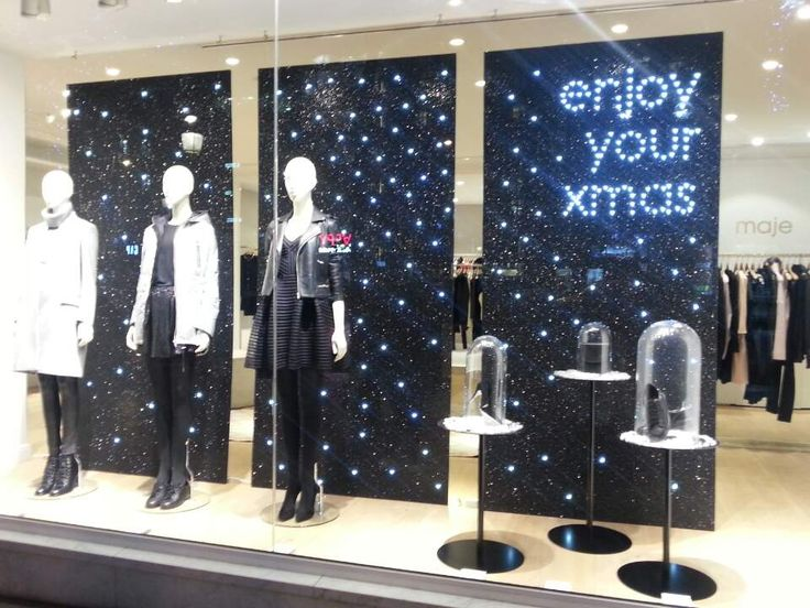 'maje' deliver a sweet message for their customers by displaying 'lights' into back of the mannequins