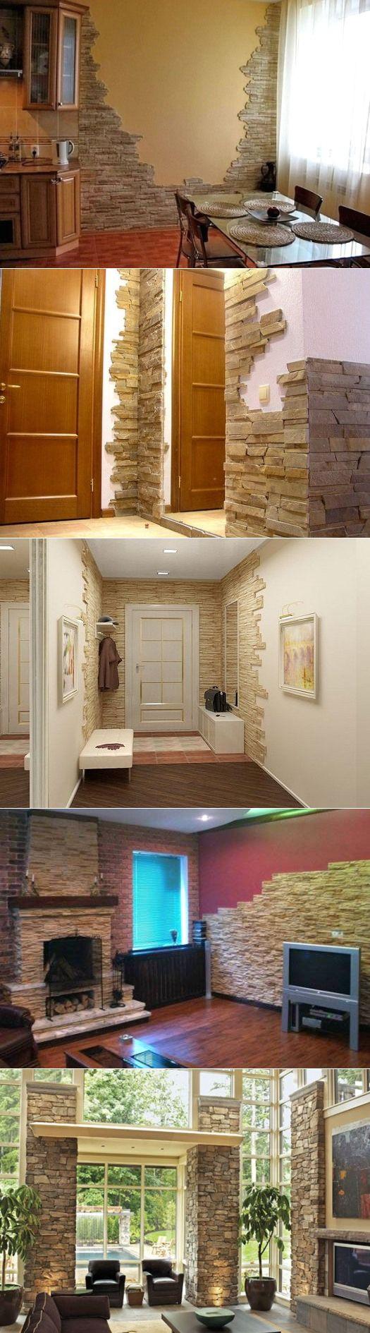 Искусственный камень в интерьере - варианты внутренней отделки комнат, фото